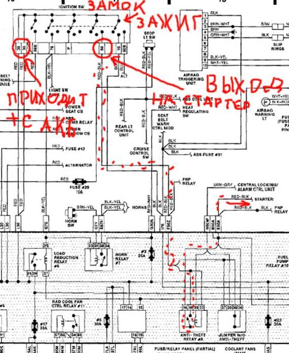 Схема стартера.  Питание +12 вольт приходит с АКБ на 30й контакт контактной группы замка зажигания...