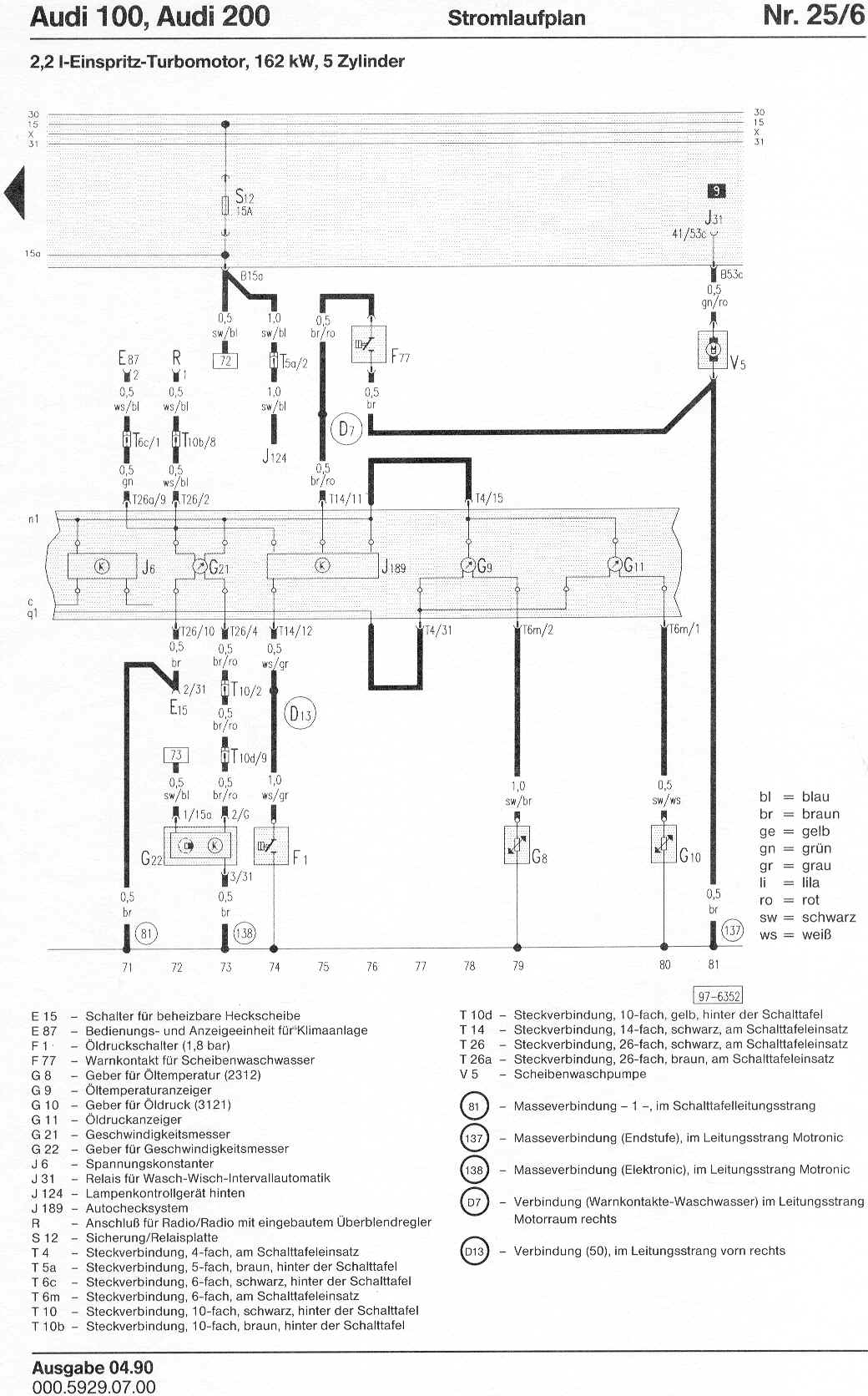 Audi 100 200 Factory Wiring Diagrams 500 Diagram Page 6 7