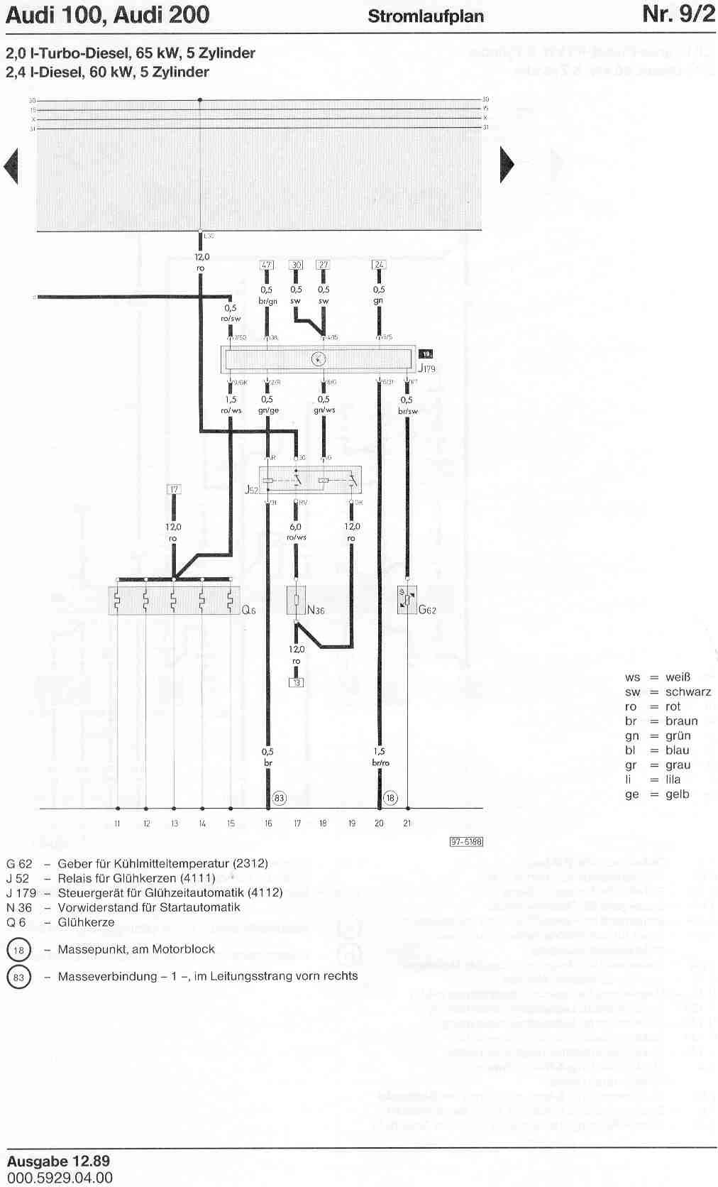 Audi 100 200 Factory Wiring Diagrams 20v W Diesel Engine Diagram Page 1 2