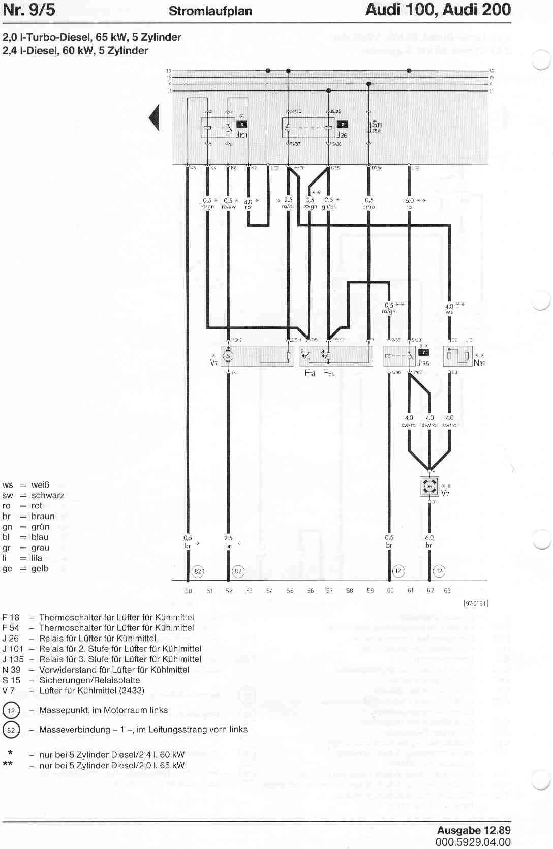 Audi 100 200 Factory Wiring Diagrams 6 9 Diesel Engine Diagram Page 5