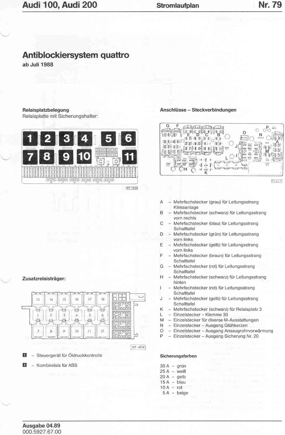 Wiring Diagram 1989s 10 Audi 100 200 Factory Diagrams Page 1