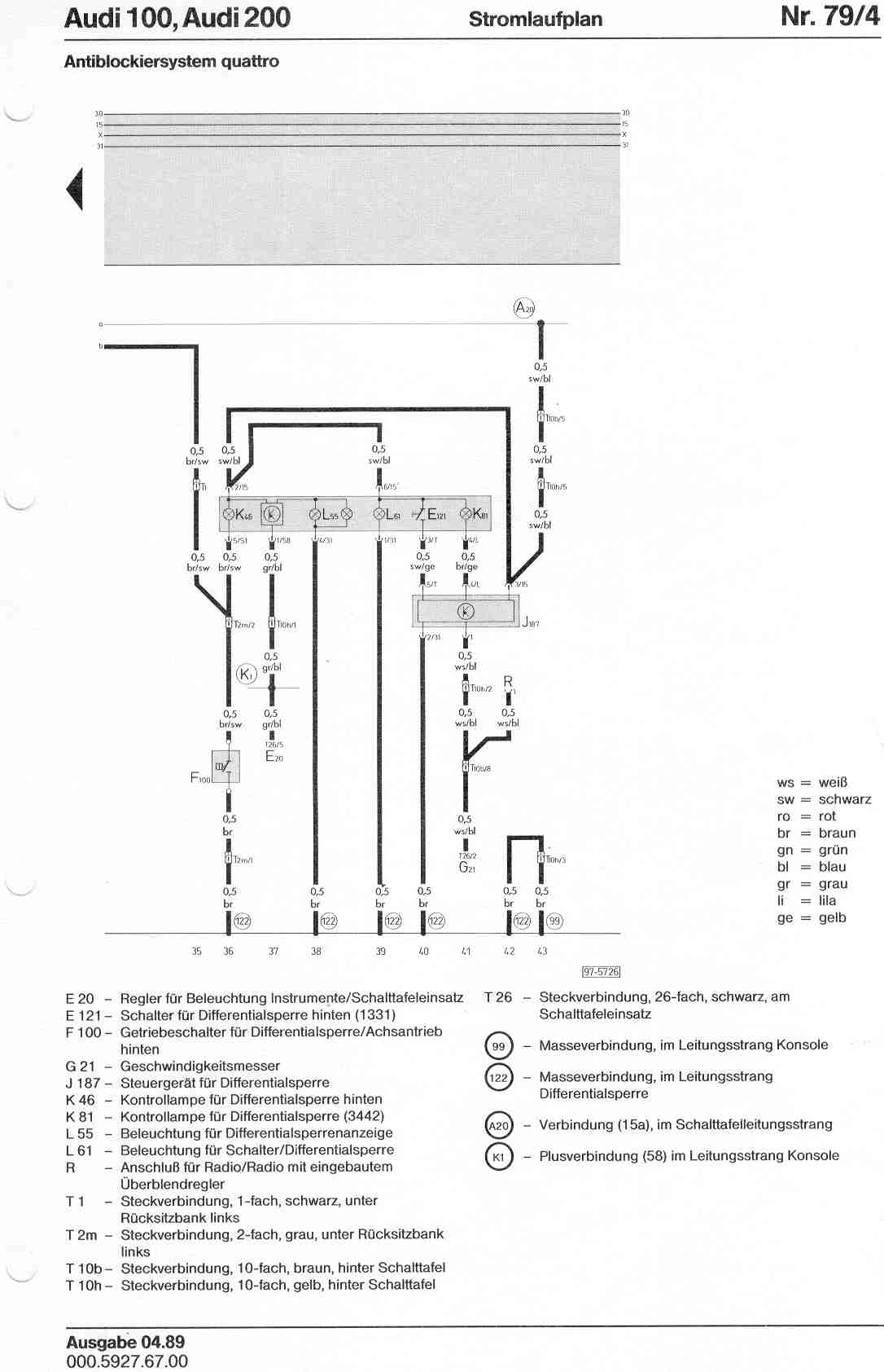 Audi 100 200 Factory Wiring Diagrams 2 8 12 Valve Engine Diagram Page 1 3 4 5