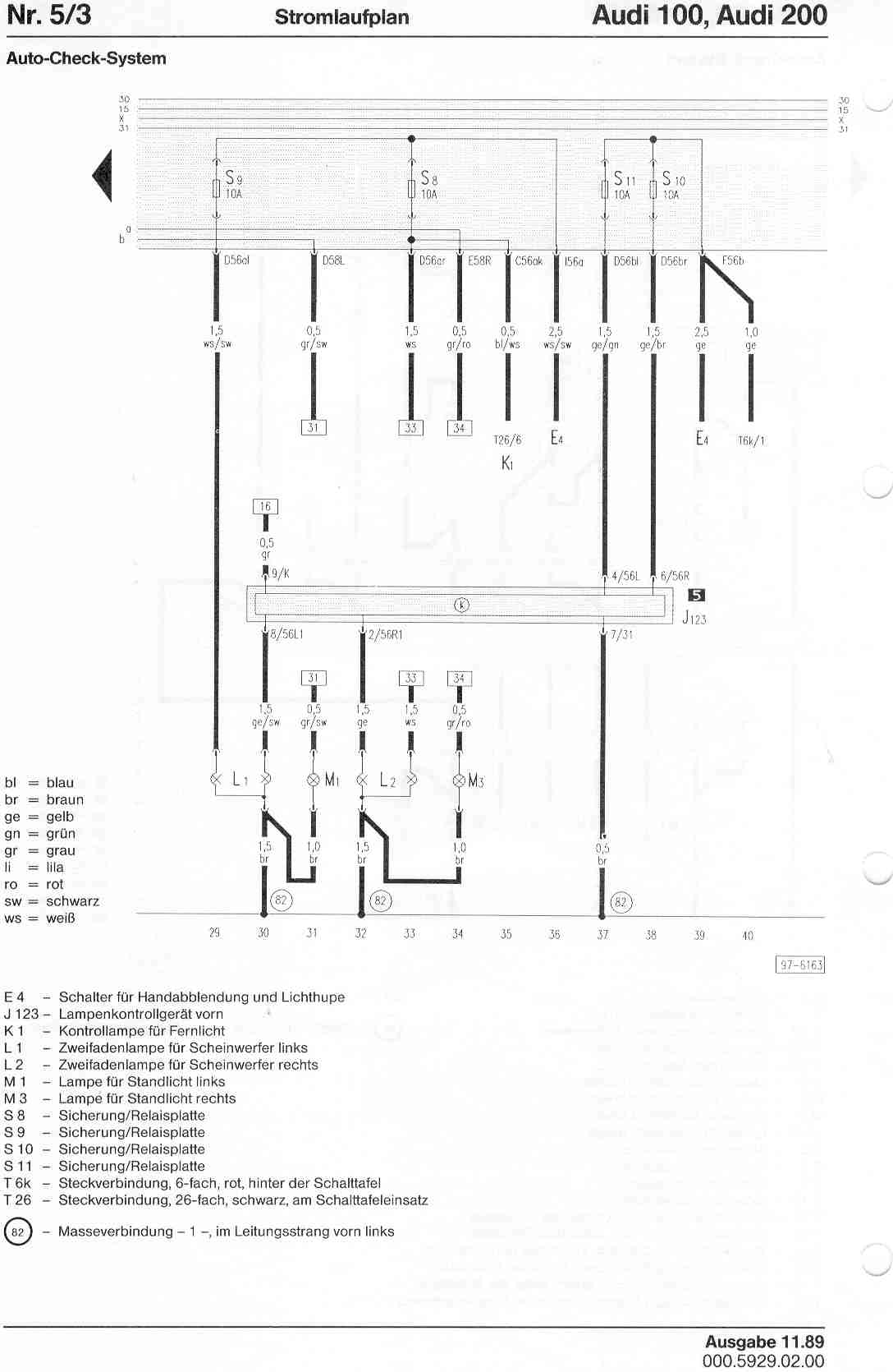 Audi 200 Wiring Diagram Schematics Diagrams 1998 A4 100 Factory Rh Sizov Org 98 Fuse
