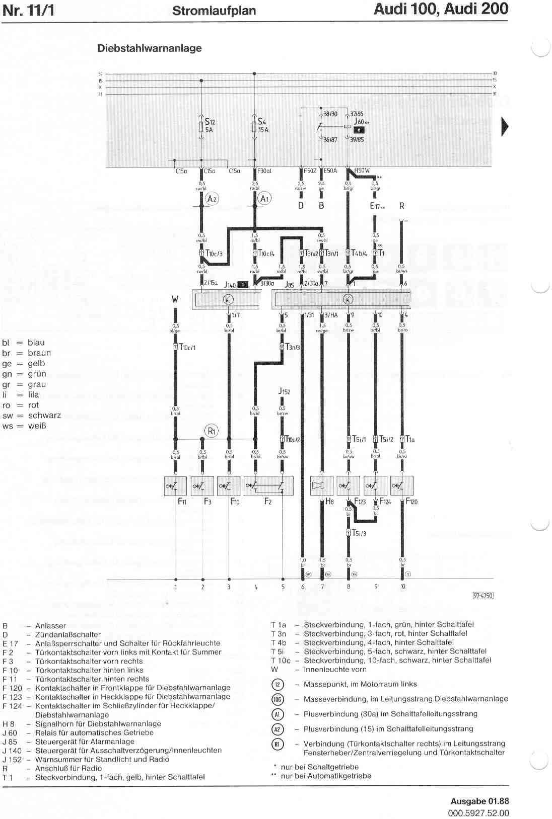 Audi 100 200 Factory Wiring Diagrams 2 8 12 Valve Engine Diagram Page 1
