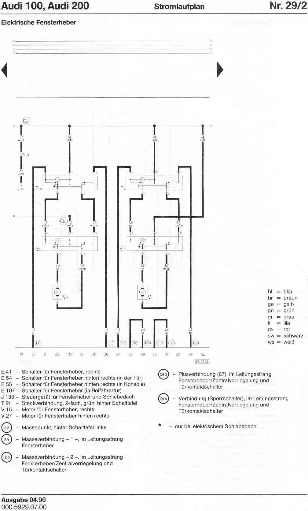 Audi 100 200 Factory Wiring Diagrams 89 B2 Diagram Page 1 2