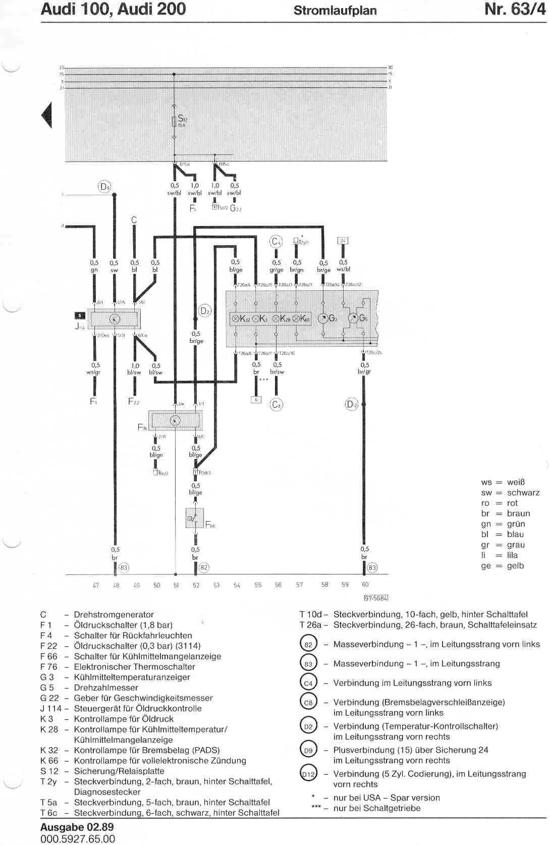 Audi 100 200 Factory Wiring Diagrams Fuse Box Page 4