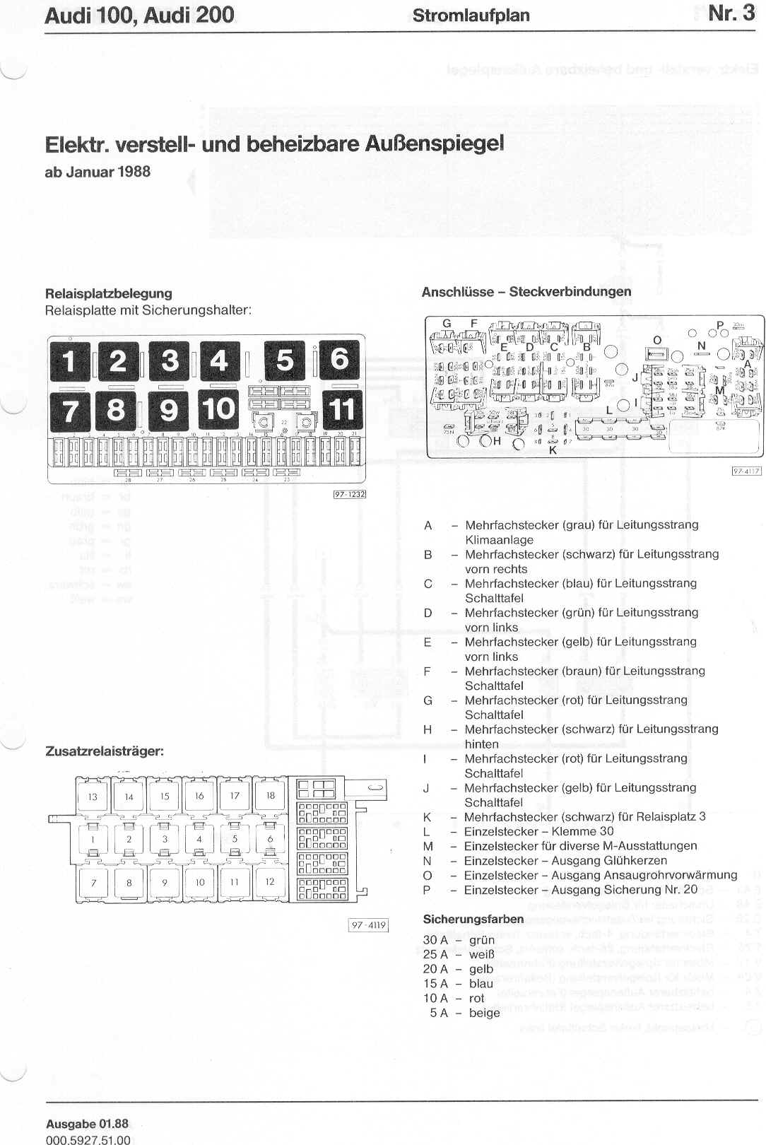 audi 100 200 factory wiring diagrams rh sizov org 1998 Audi A4 Fuse Box  Location Audi